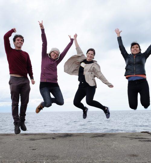 Tour group jumping